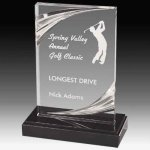 Clear Acrylic Trophy Award with Routed Accents and Black Marble Base Acrylic Awards | Acrylic Trophies