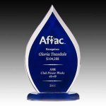 Blue Tinted Flame Acrylic Awards | Acrylic Trophies